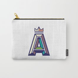 Crowned A Initial Carry-All Pouch