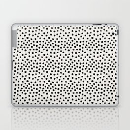 Preppy brushstroke free polka dots black and white spots dots dalmation animal spots design minimal Laptop & iPad Skin