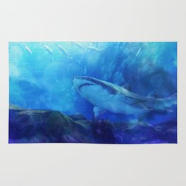 Make Way for the Great White Shark King  Rug