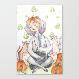 Ombre Watercolor Witch Canvas Print