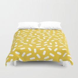 Somethin' Somethin' - yellow bright happy sprinkles pills dash pattern rad minimal prints Duvet Cover