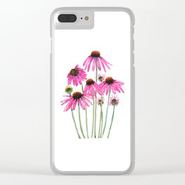 pink coneflowers watercolor Clear iPhone Case