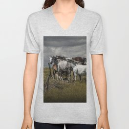 Western Horses by the Pasture Fence under a Cloudy Sky in Montana Unisex V-Neck