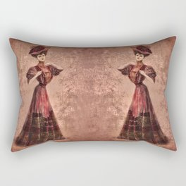 Woman in red Edwardian Era in Fashion Rectangular Pillow