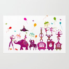 colorful circus carnival traveling in one row on white background Rug