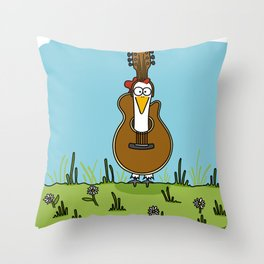 Eglantine la poule (the hen) disguised as a guitare. Throw Pillow