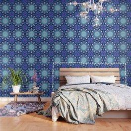 Flower Of Life Mandala Fractal turquoise Wallpaper