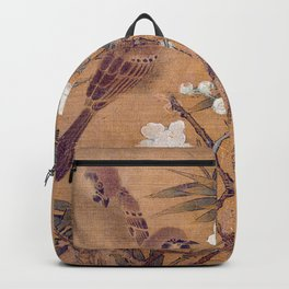 Sparrows, plum blossoms, and bamboo Backpack