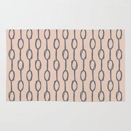 Pebble Dot Stripes Gray on Vintage Rose Pink Rug