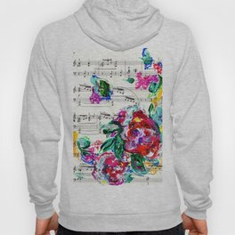 Musical Beauty - Floral Abstract - Piano Notes Hoody