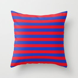 Blue and Red Stripes Throw Pillow