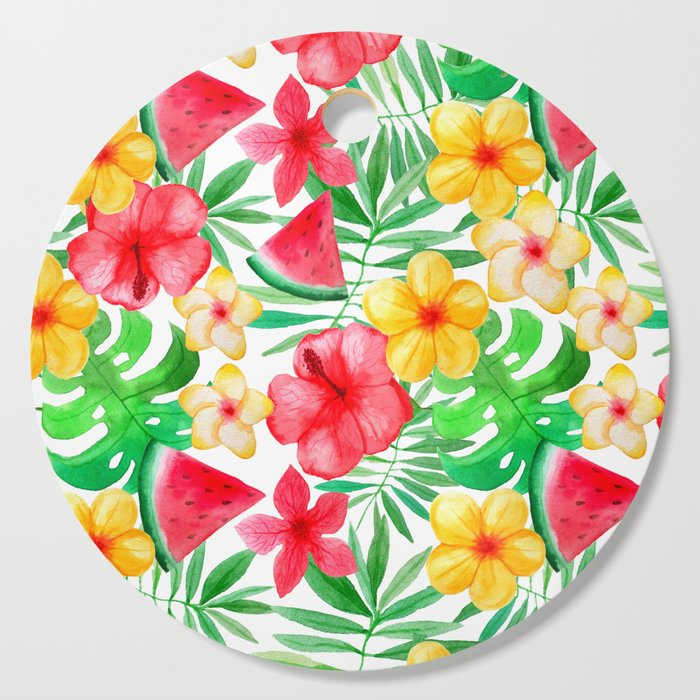 happy summer life aloha flowers and melon pattern cutting board