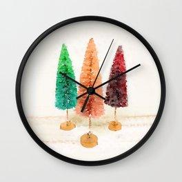Vintage Bottlebrush Pastel Trees Wall Clock