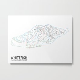 Whitefish, MT - Minimalist Trail Art Metal Print