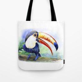 Toucan watercolor illustration, aquarelle art bird Tote Bag