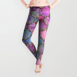 Colorful Pink Mermaid Scales Leggings