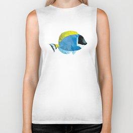 Geometric Abstract Powder Blue Tang Fish Biker Tank