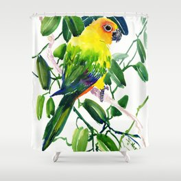 Sun Conure Parakeet, jungle tropical colors, parrot yellow deep green bright colored home decor Shower Curtain
