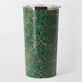 Gold and Green Tangle Pattern Travel Mug