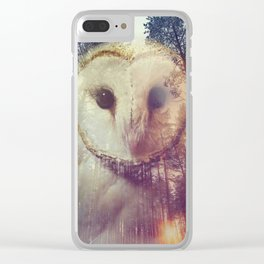 Merge owl and forest reflection Clear iPhone Case