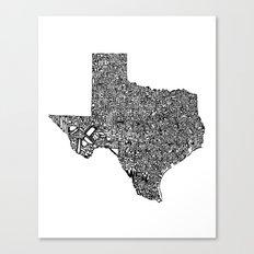 Typographic Texas Canvas Print