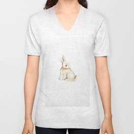 Easter bunny watercolor Unisex V-Neck