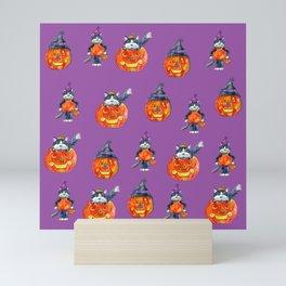Black Cats and Jack-o-lanterns Mini Art Print