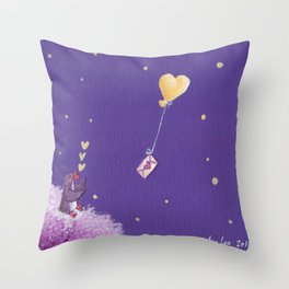 Penguin Sends Love Letter with Heart Balloon to Friend Across Starry Sky Throw Pillow