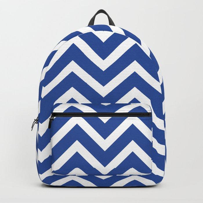 blue, white zig zag pattern design Backpack