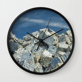 Aluminium Cubes with blue sky Wall Clock