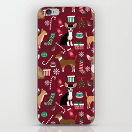 Chihuahua christmas presents dog breed stockings candy canes mittens iPhone Skin
