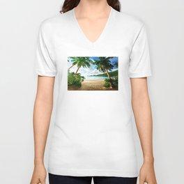 Palm Trees - Seashore - Paradise - Ocean - Blues Unisex V-Neck
