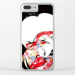 Woman wears a traditional kimono, Body tied by rope, Shibari, Japanese BDSM art, Fashion illusration Clear iPhone Case