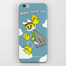 Atomic Terrier flying print iPhone Skin
