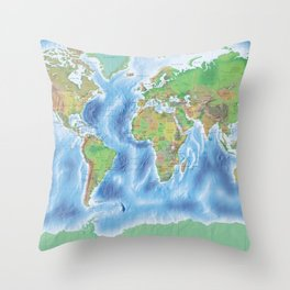 Physical world map with countries Throw Pillow