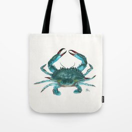 """""""Blue Crab"""" by Amber Marine ~ Watercolor Painting, Illustration, (Copyright 2013) Tote Bag"""