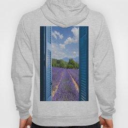wooden shutters, lavender field Hoody
