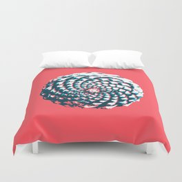 pine cone pattern in coral, aqua and indigo Duvet Cover