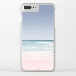 Pastel ocean waves Clear iPhone Case