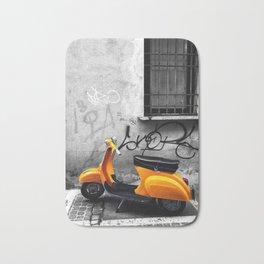 Orange Vespa in Bologna Black and White Photography Bath Mat