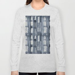 Simply Shibori Lines in Indigo Blue on Lunar Gray Long Sleeve T-shirt
