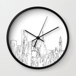Birmingham, UK Skyline B&W - Thin Line Wall Clock