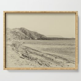 Tranquil bay view in sepia Serving Tray