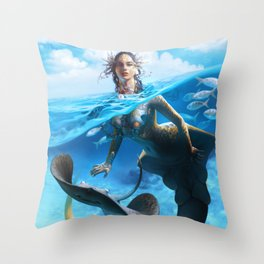 Ray Mermaid Throw Pillow