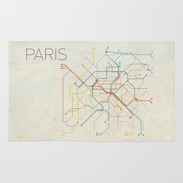Minimal Paris Subway Map Rug