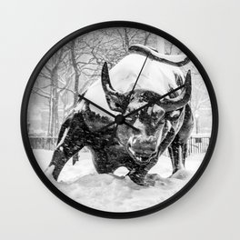 The Charging Bull, In the snow. Wall Clock