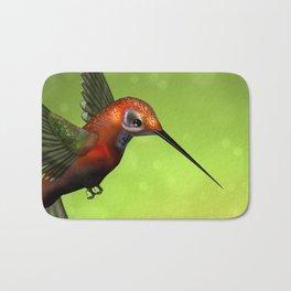Colorful Hummingbird & Green Unfocused Background Bath Mat