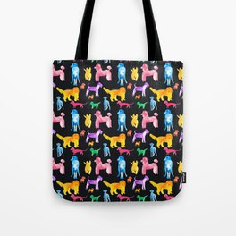 Happy Dogs On Black Tote Bag
