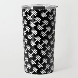 Dumbbellicious inverted / Black and white dumbbell pattern Travel Mug
