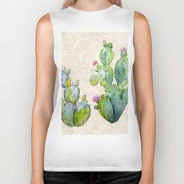 Water Color Prickly Pear Cactus Adobe Background Biker Tank